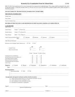 State of Illinois Eye Examination Report