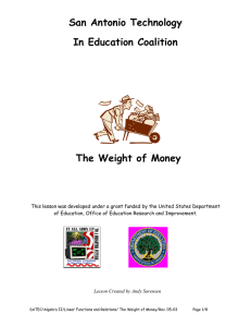San Antonio Technology In Education Coalition  The Weight of Money