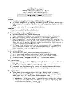 KUTZTOWN UNIVERSITY ELEMENTARY EDUCATION DEPARTMENT PROFESSIONAL SEMESTER PROGRAM LESSON PLAN GUIDELINES