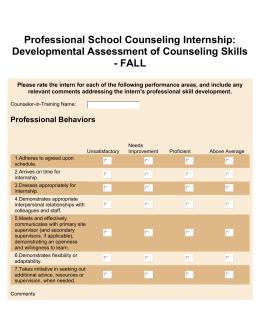Clinical Mental Health Counseling Internship Developmental