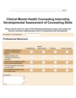 Clinical Mental Health Counseling Internship Developmental Assessment of Counseling Skills