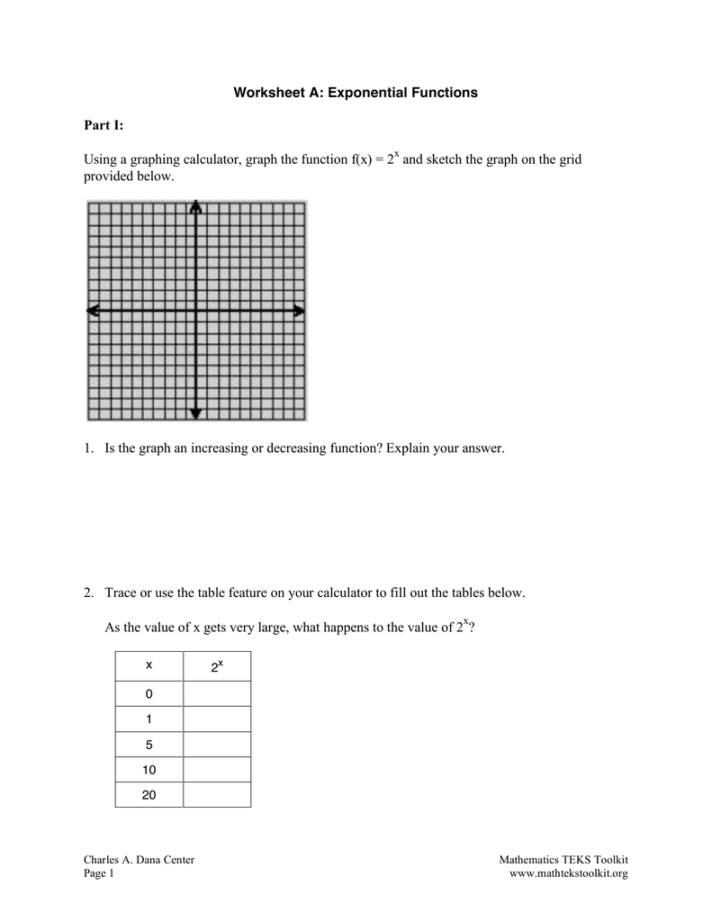 Worksheets Graphing Exponential Functions Worksheet worksheet a exponential functions part i