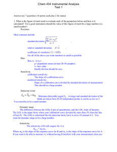 Chem 434 Instrumental Analysis Test 1