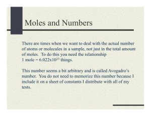 M l d N b Moles and Numbers