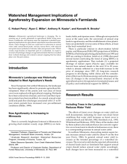 Watershed Management Implications of Agroforestry Expansion on Minnesota's Farmlands C. Hobart Perry