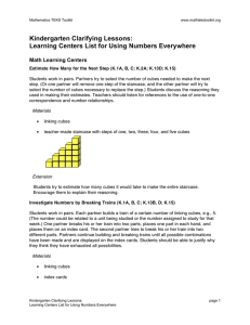 Kindergarten Clarifying Lessons: Learning Centers List for Using Numbers Everywhere