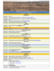 MARS Agenda || Austin, TX || 15-19 September 2014 MONDAY MARS Plenary