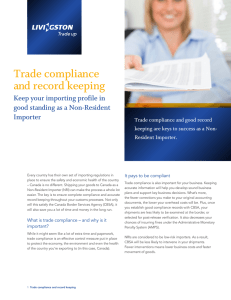 Trade compliance and record keeping Keep your importing profile in