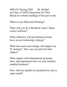 MIS-655 Spring 2003 Dr. Reithel In-Class (1/16/03) Questions for CIOs