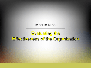 Evaluating the Effectiveness of the Organization Module Nine