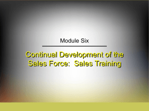 Continual Development of the Sales Force:  Sales Training Module Six