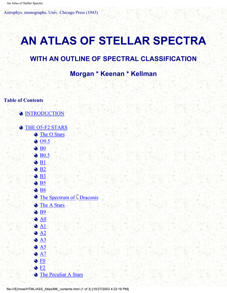 AN ATLAS OF STELLAR SPECTRA WITH AN OUTLINE OF SPECTRAL