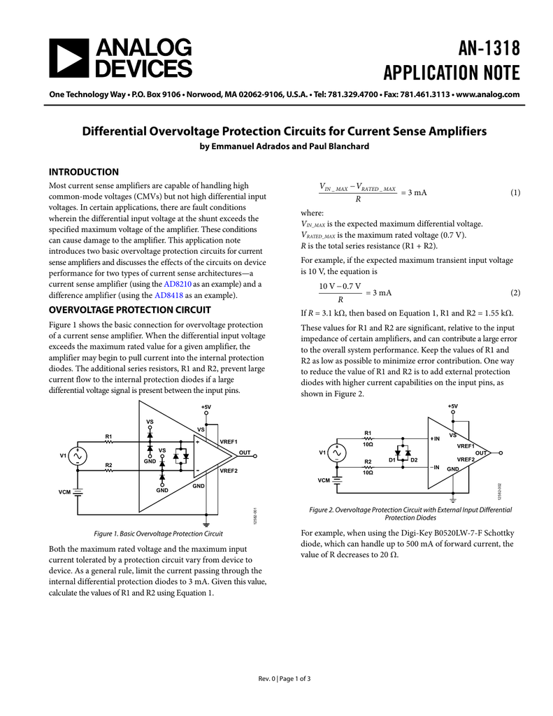 Internal Protection Circuitry Present Herpmeds Diode Circuit An 1318 Application Note Differential Overvoltage Circuits For Current Sense Amplifiers