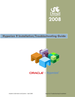 2008  Hyperion 9 Installation/Troubleshooting Guide 0BTable of Contents