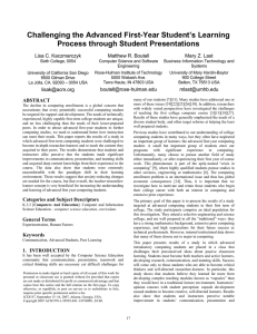 Challenging the Advanced First-Year Student's Learning Process through Student Presentations