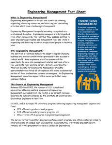 Engineering Management Fact Sheet What is Engineering Management?