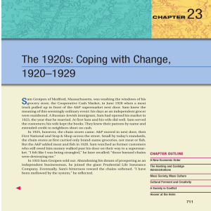 23 The 1920s: Coping with Change, 1920–1929 S