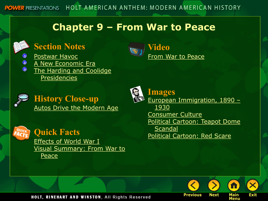 Chapter 9 From War To Peace Section Notes Video Images