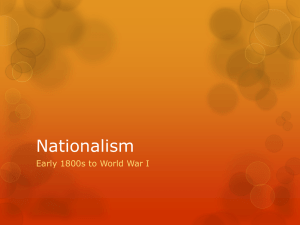 Nationalism Early 1800s to World War I