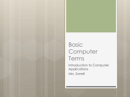 Basic Computer Terms Introduction to Computer