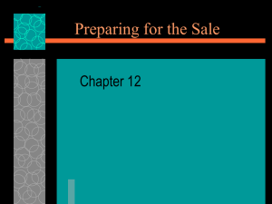 Preparing for the Sale Chapter 12