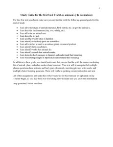 Study Guide for the first Unit Test (Los animales y...