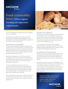Food commodity laws: CFIA to tighten licensing and registration