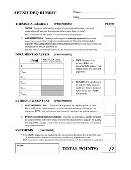 apush essay scoring rubric Mr stephen ludlam » ap/ib essay information and rubrics for dbq's, leq's, saq's ap/ib essay information and rubrics for dbq's, leq's, saq's essay and writing information 7 grading marks and comments 6 free-response _dbq_ leq_ saq_ rubrics 8 writing guides for essays 5 writing _dbq_ leq_ saq_.