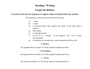 Reading / Writing Target Six Rubric: