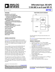 Differential Input, 555 kSPS 12-Bit ADC in an 8-Lead SOT-23 AD7452 Data Sheet