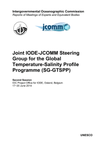 Joint IODE-JCOMM Steering Group for the Global Temperature-Salinity Profile Programme (SG-GTSPP)