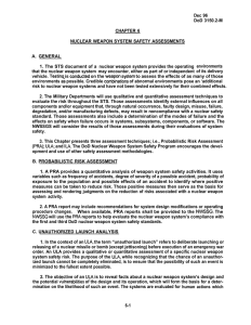 Dec 96 DoD 3150.2-M CHAPTER 6 NUCLEAR WEAPON SYSTEM SAFETY ASSESSMENTS