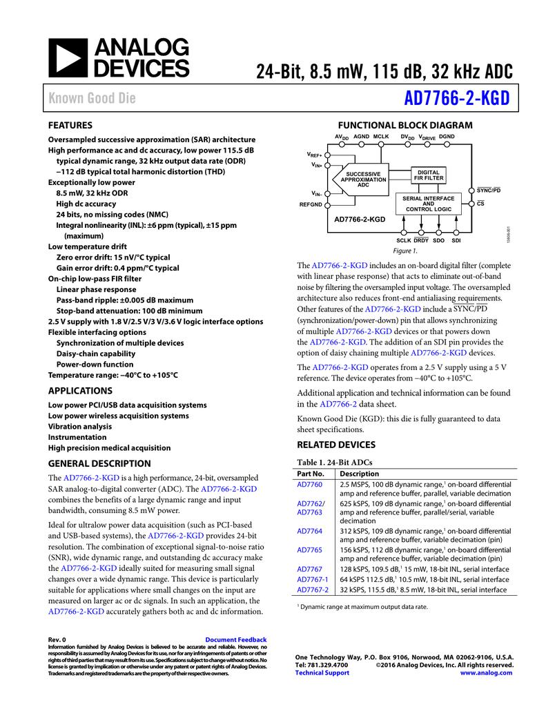 24-Bit, 8 5 mW, 115 dB, 32 kHz ADC AD7766-2-KGD Known Good