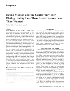 Eating Motives and the Controversy over Than Wanted Perspective