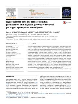 Hydrothermal time models for conidial pathogen Pyrenophora semeniperda