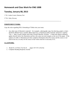 Homework and Class Work for ENG 100B Tuesday, January 08, 2013