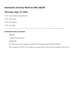 Homework and Class Work for ENG 100/AP Thursday, Sept. 27, 2012