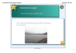 Dissolved oxygen How Does Dissolved Oxygen Affect Freshwater  Ecosystems? Ecology Dissolved Oxygen.notebook