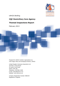 CQC Domiciliary Care Agency Themed Inspections Report UKHCA Briefing