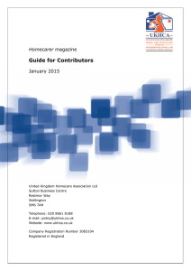 Guide for Contributors January 2015 Homecarer