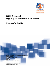 With Respect Dignity in Homecare in Wales Trainer's Guide