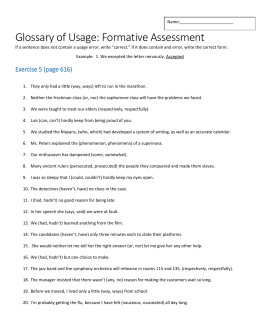Glossary of Usage: Formative Assessment