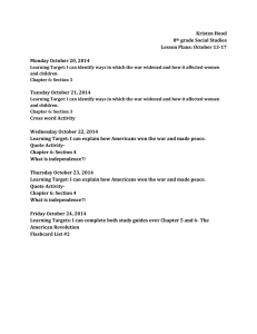 Kristen Hood 8 grade Social Studies Lesson Plans: October 13-17