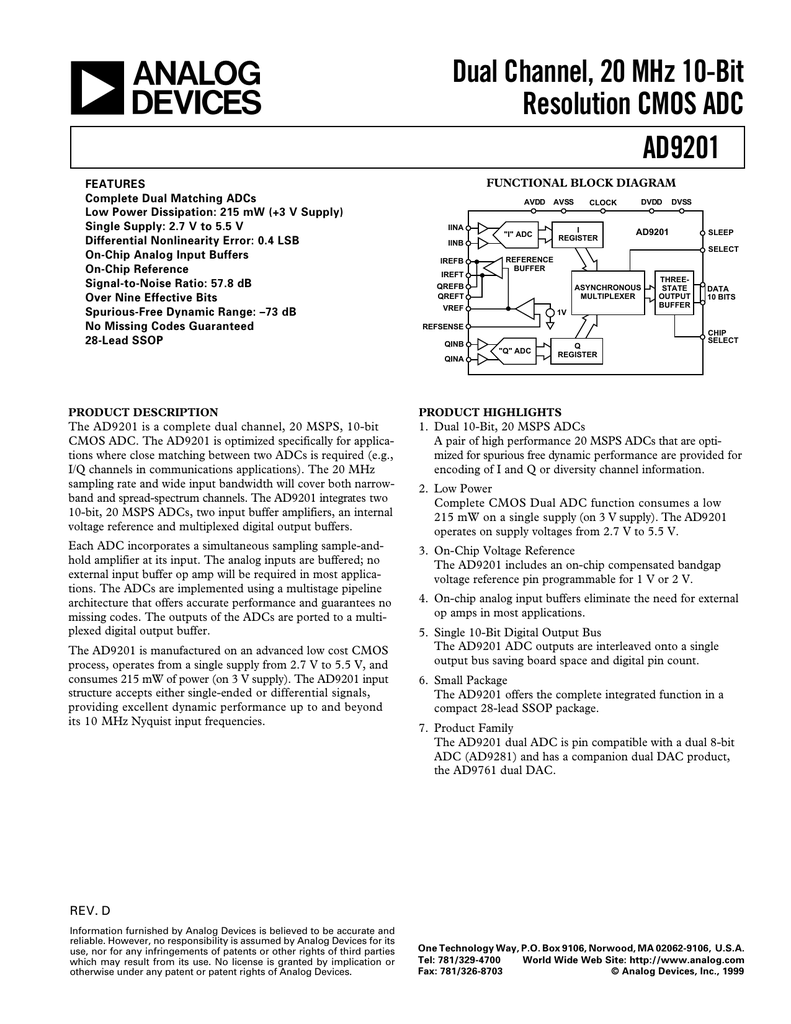 a Dual Channel, 20 MHz 10-Bit Resolution CMOS ADC AD9201