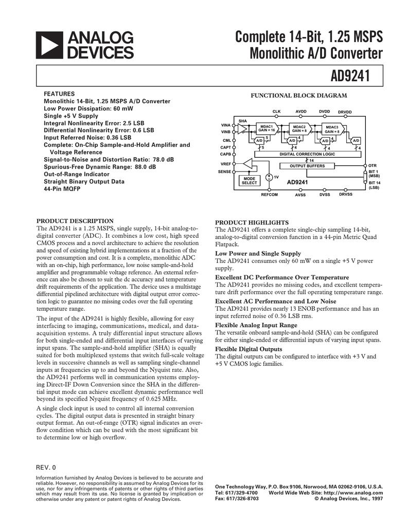 a Complete 14-Bit, 1 25 MSPS Monolithic A/D Converter AD9241