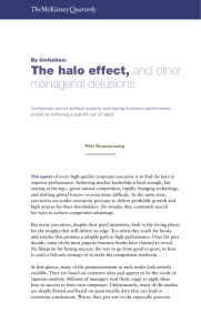 The halo effect, managerial delusions By Invitation: