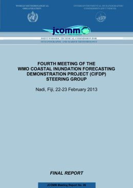 FOURTH MEETING OF THE WMO COASTAL INUNDATION FORECASTING DEMONSTRATION PROJECT (CIFDP) STEERING GROUP