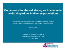 Communication-based strategies to eliminate health disparities in diverse populations