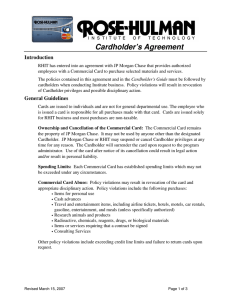 Cardholder's Agreement Introduction