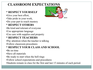 CLASSROOM EXPECTATIONS * RESPECT YOURSELF * RESPECT OTHERS